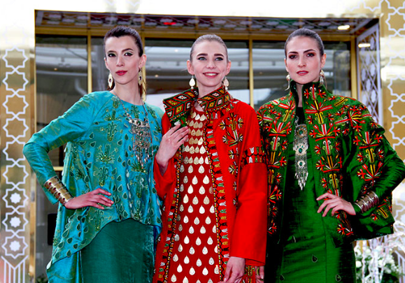Turkmen national costume presented at the ethnological festival in Serbia